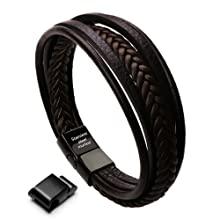 Large Brown Leather Bracelet