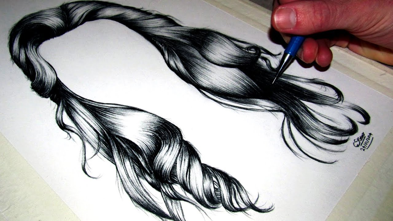 How to draw Realistic Hair - YouTube