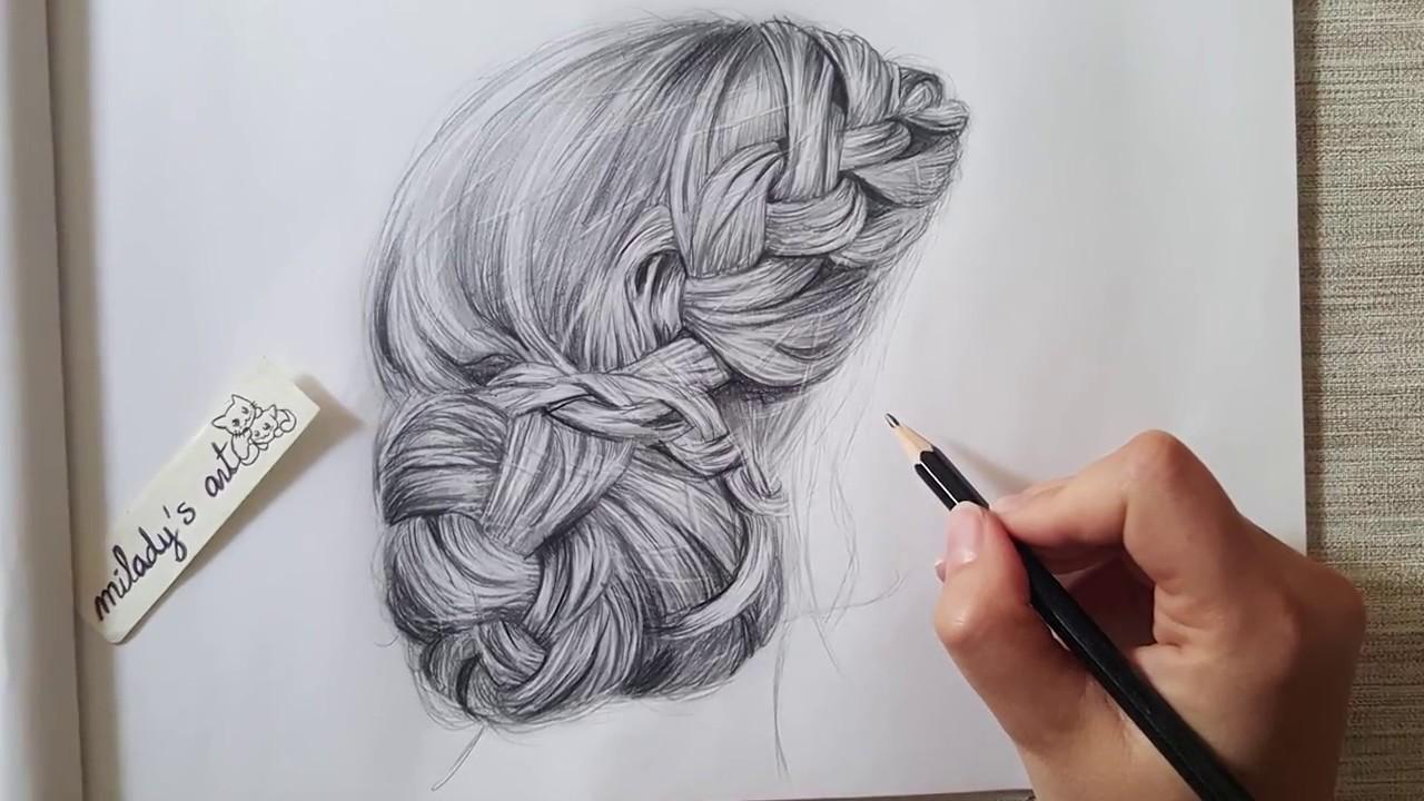 Tutorial : Drawing realistic hair bun - dessiner un